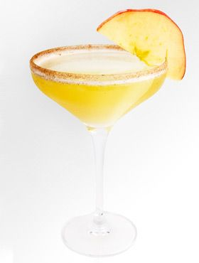 Apple Fritter Martini---------------    1 1/2 oz. 360 Glazed Donut Vodka  3 oz. Apple Juice  1 tsp. Maple Syrup    Shake with ice and strain into a martini glass rimmed with sugar and cinnamon. Garnish with an apple slice.