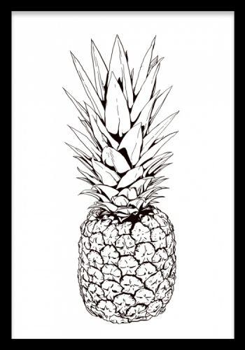 Tavla med trendig ananas - svartvit illustration.