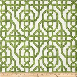 green and white geometric curtain panel custom by