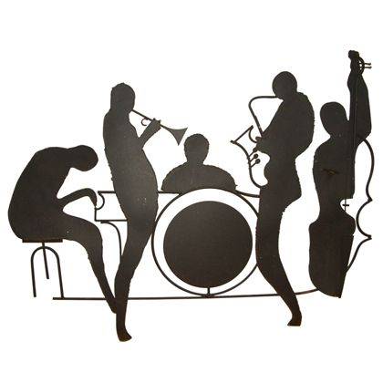 Jazz Musician Silhouettes   Silhouette Jazz Band Wall Sculpture Id image