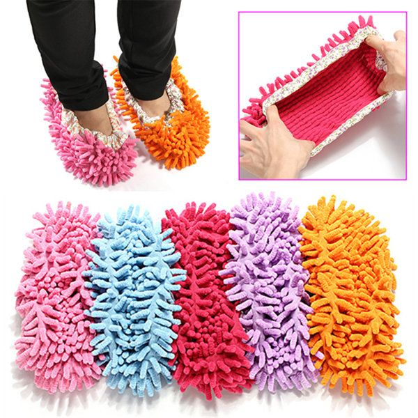 2Pcs Multifunction Chenille Cleaning Mop Shoes Mophead Overshoe Floor Dust Clean - US$3.99 - Banggood Mobile
