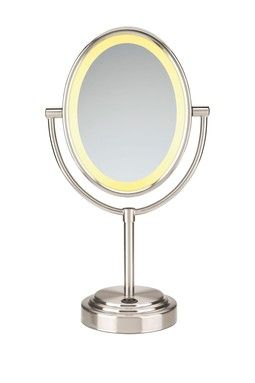 Conair Personal Electronics Oval Satin Nickel Double-Sided Lighted Mirror