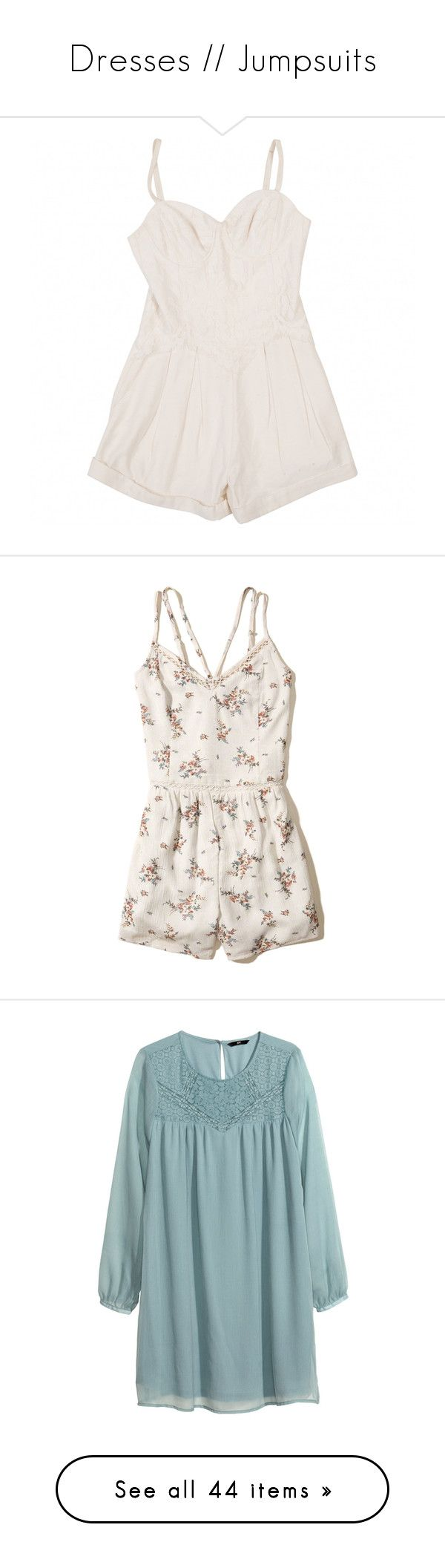 """""""Dresses // Jumpsuits"""" by twaayy ❤ liked on Polyvore featuring jumpsuits, rompers, dresses, playsuits, ecru, jump suit, white jumpsuit, white romper, white jump suit and romper jumpsuit"""