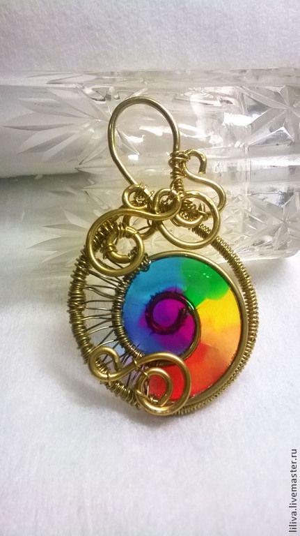 Pendants handmade. Brass wire wrap pendant