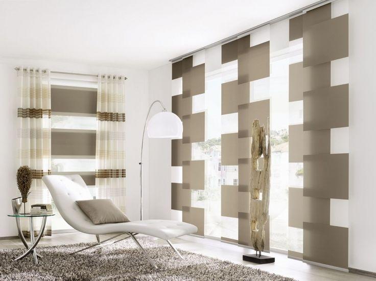 moderne gardinen f rs wohnzimmer mit bunte dekor die. Black Bedroom Furniture Sets. Home Design Ideas