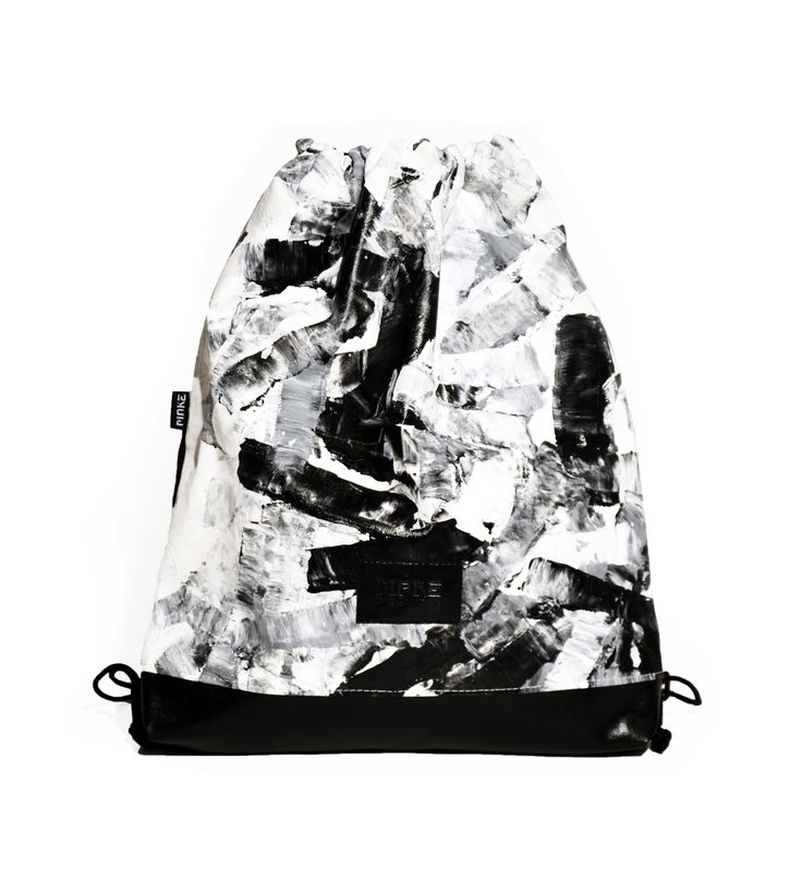 Hand painted gym bag -black and white -unisex backpack #gymbag #bag #backpack #blackandwhite #hungary #budapest #hungariandesign #hungariandesigner #canvas #print #abstract #pattern #unisex #fashion #design