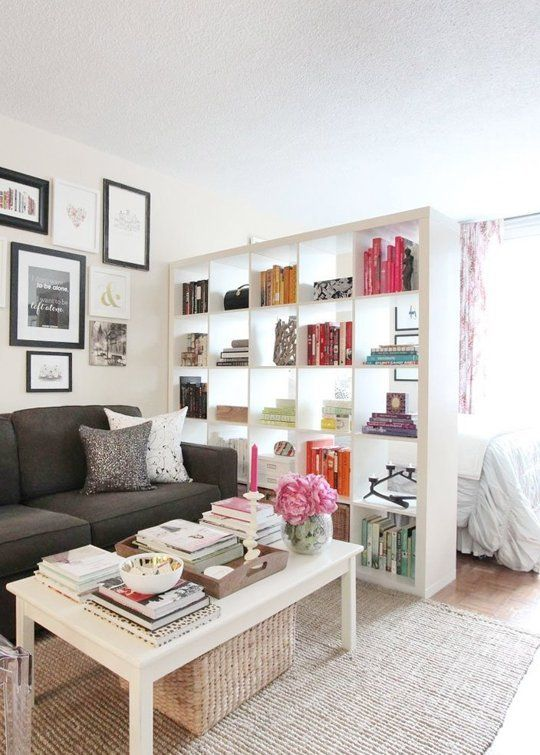 Attach a curtain to the backside of the bookcase to let in light   cover for. Best 25  Studio apartment decorating ideas on Pinterest   Studio