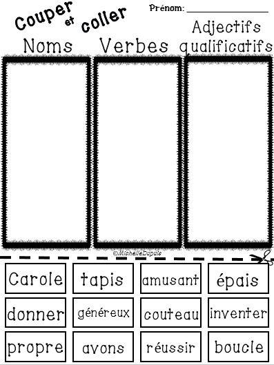 GRATUIT - Noms, verbes et adjectifs qualificatifs
