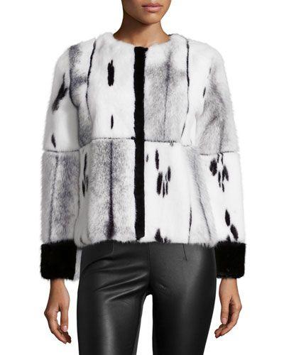 TAVR4 Oscar de la Renta Mixed-Media Mink Fur Jacket, Black/White