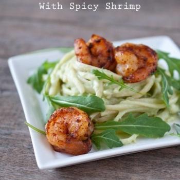 Avocado Alfredo Pasta With Spicy Shrimp