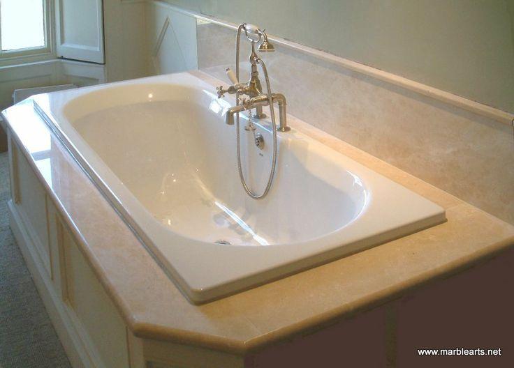 Stone bath surround and splash back. Stone type Crema Marfil