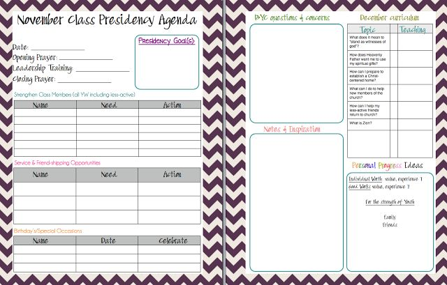 Mormon Mom Planners - Monthly Planner/Weekly Planner: YW Class Presidency Agenda