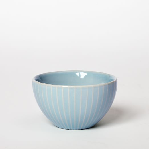 Textured Dip Bowl, Light Ice Blue, Lines