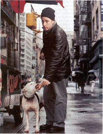 here are five reasons for dog lovers to heart Jon Stewart and his show:  1. He's a huge pit bull advocate  2. He married a vet tech!  3. Behind the scenes, The Daily Show is a dog-friendly workplace  4. Jon had some choice words for a certain NFL dogfighter  5. He has great choice in guests!