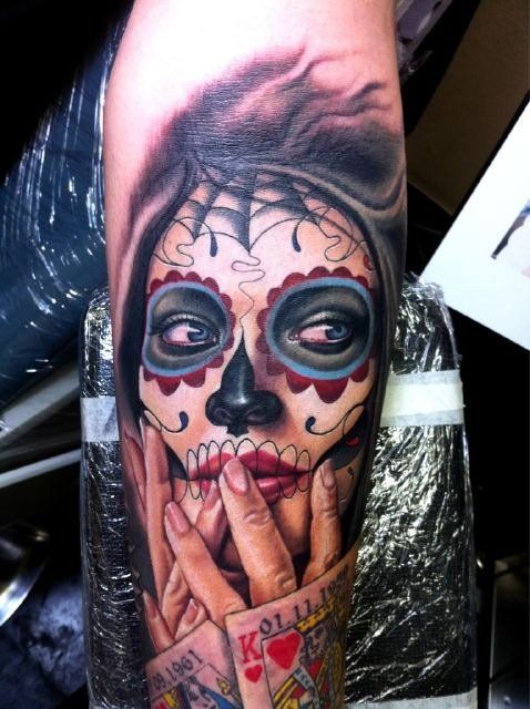 ugar Skull Tattoo by Nikko Hurtado. Easily one of the best color portraiture tattoo artists working today. No one does gorgeous ghoulish ink better.