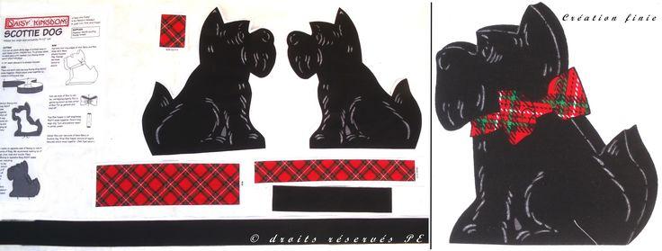 Coupon Tissu coton Appliqué / Panneau CHIEN TERRIER ECOSSAIS A CONFECTIONNER : Tissus pour Patchwork par marinella