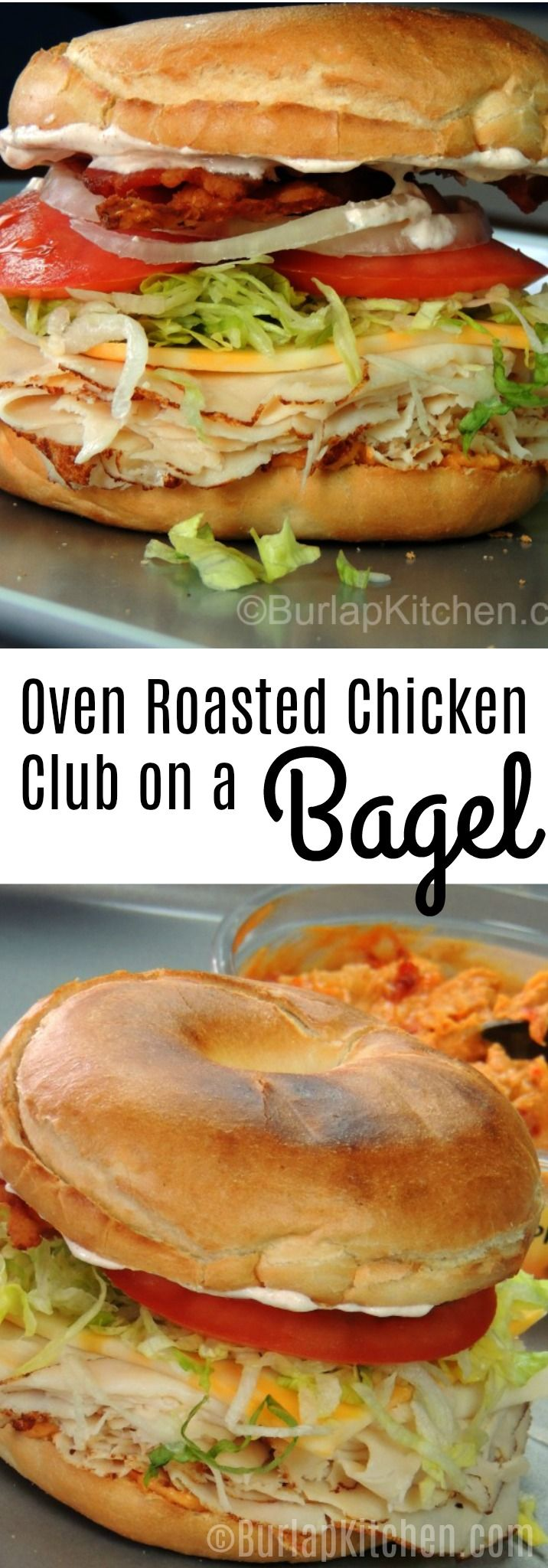 The bottom half of the bagel is smothered with roasted red paper hummus, which leaves just the right amount of bite. A little spice but not too much. This sandwich is stuffed with all kinds of goodies such as Chicken  lunch meat, cheese, lettuce, tomato, onion, and  bacon. We then decided it needed a big glob of one of our all time favorite dips on the top, spicy ranch dip. Adding the dip just adds a notably cool element to the sandwich that was much needed.