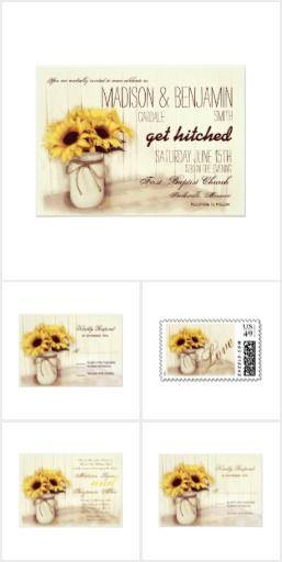 Rustic Sunflowers Mason Jar Wedding Invitation Set