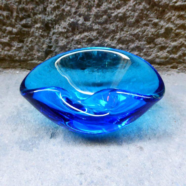 Vintage turquoise glass ashtray, 70s  