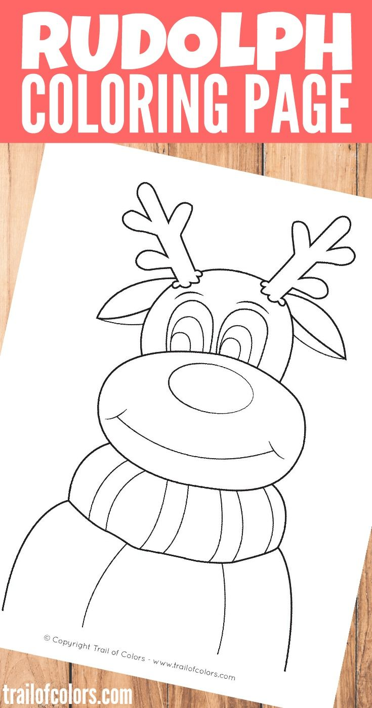 Coloring pages for down syndrome adults - Rudolph The Reindeer Coloring Page