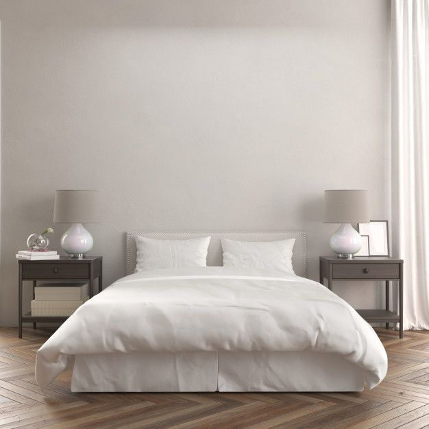 Download Front View Of Room With A Bed And Modern Wooden Night Tables Mockup For Free Bedroom Interior Living Room Background Bed Wall Minimalist room color paint download
