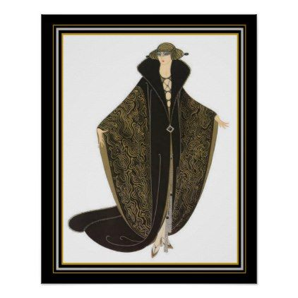 "Erte Art Deco ""The Golden Cloak"" 16 x 20 Poster - golden gifts gold unique style cyo"