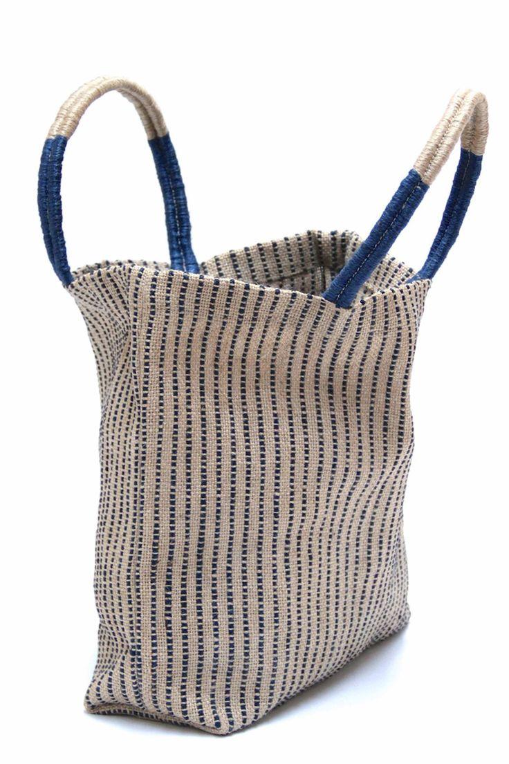 Indigo Stripes Jute Shopper