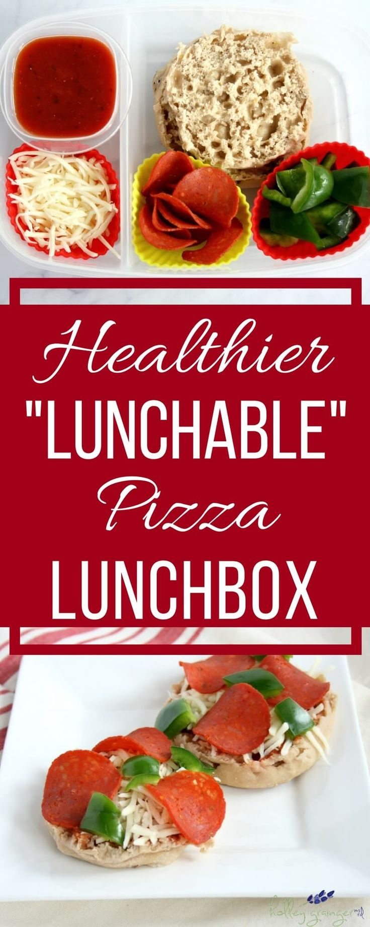 """This healthier """"lunchable"""" pizza lunchbox is just as easy and fun as the classic pre-made lunch but with better nutrition thanks to some simple and fresh swaps. via @holleygrainger"""