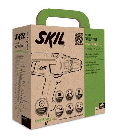 Skil's Energy Line tools have an environment-friendly 2-color printed packaging, with a convenient integrated handle for easy carrying.