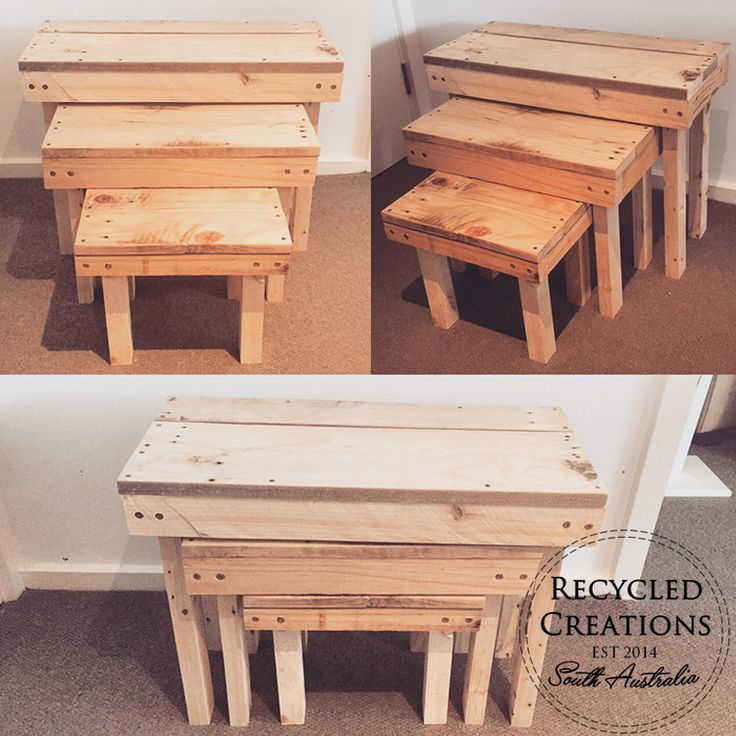 Set of three pallet coffee tables