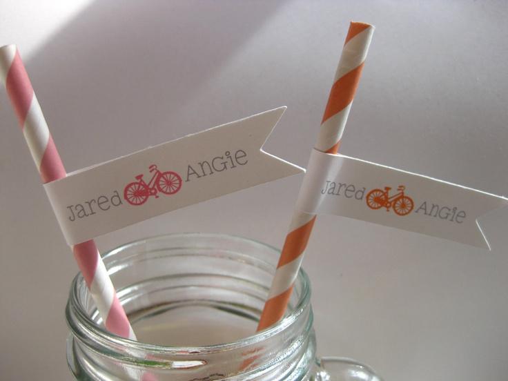 30 Custom Party Straws BICYCLE LOVE Vintage Paper Striped Drink Flag Wedding. $24.00, via Etsy.
