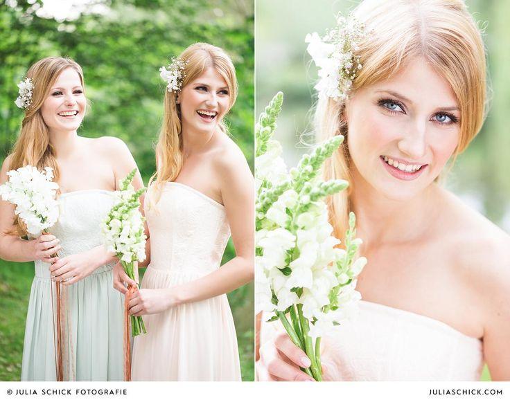 #bridesmaids in #mint and #blush #babysbreath  #Brautjungfern in #Mint und #altrosa am Werseufer auf dem Hof zur Linde