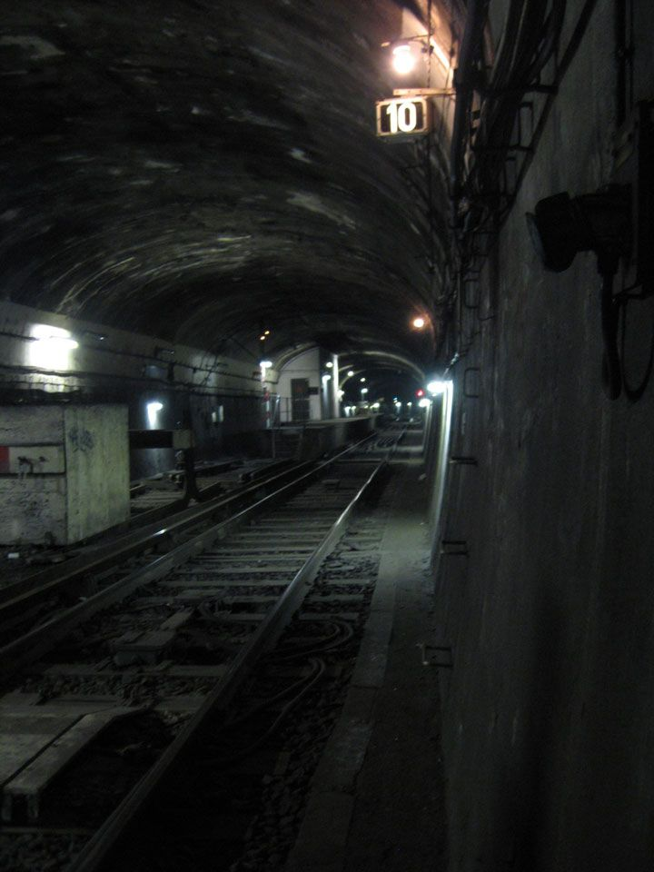 The ghost platforms and tracks of the abandoned Gare du Nord metro station - Paris, France.