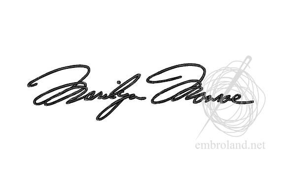 Marilyn Monroe Signature Autograph Machine Embroidery Design