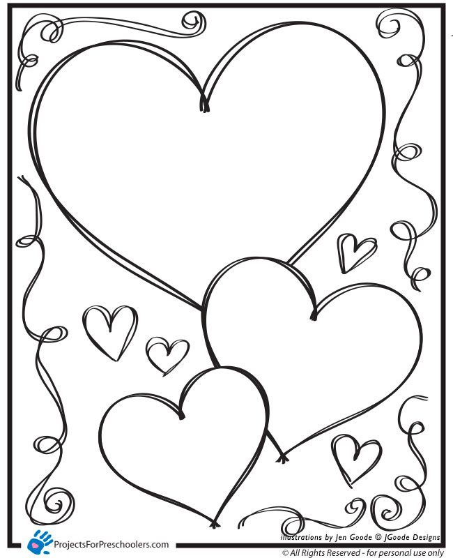 Valentine hearts and swirls coloring page