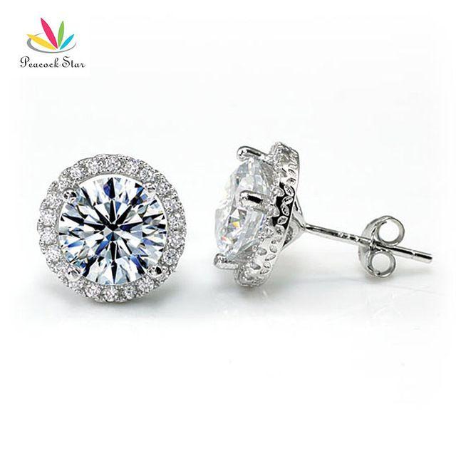 Estrela pavão Halo Brincos Sólido 925 Sterling Silver 4 Carat Round Cut Criado Diamante Nupcial Da Dama de Honra Jóias CFE8102