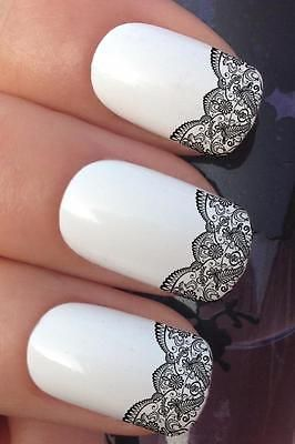20 best nail stickers nail art images on pinterest beautiful water nail transfers black scallop lace french tip water decals stickers 657 prinsesfo Gallery