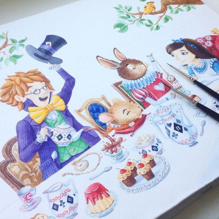 Crazy tea party #watercolor #illustration #character #artctopus #aliceinwonderland