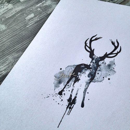 Watercolor deer tattoo design - The Bunette