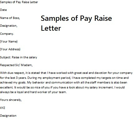 sample letters requesting a raise