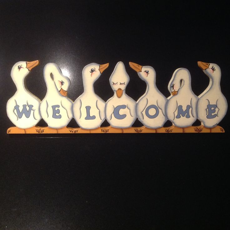 Wooden folk art - Welcome Geese by Sweetsundaycharm on Etsy
