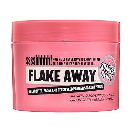 Soap & Glory Flake Away™ Body Polish 10.1 oz by Soap & Glory. $20.00. What it is: A super-hero strength skin smoothing spa body polish.What it does: This smoothing body polish is made from shea butter, sweet almond oil, peach seed powder, sea salt, and sugar for a formula that eliminates dry skin. Its alluring scent of Soap & Glory's signature Pink Fragrance combines fresh bergamot and mandarin, rose, jasmine, peach, strawberry, oakmoss, amber, woody notes and am...