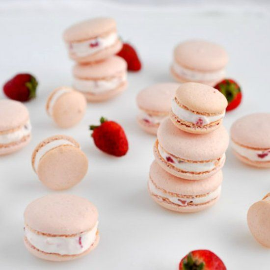 Gluten and dairy-free Strawberry Shortcake Macarons filled with fresh strawberry-laced whipped coconut cream.