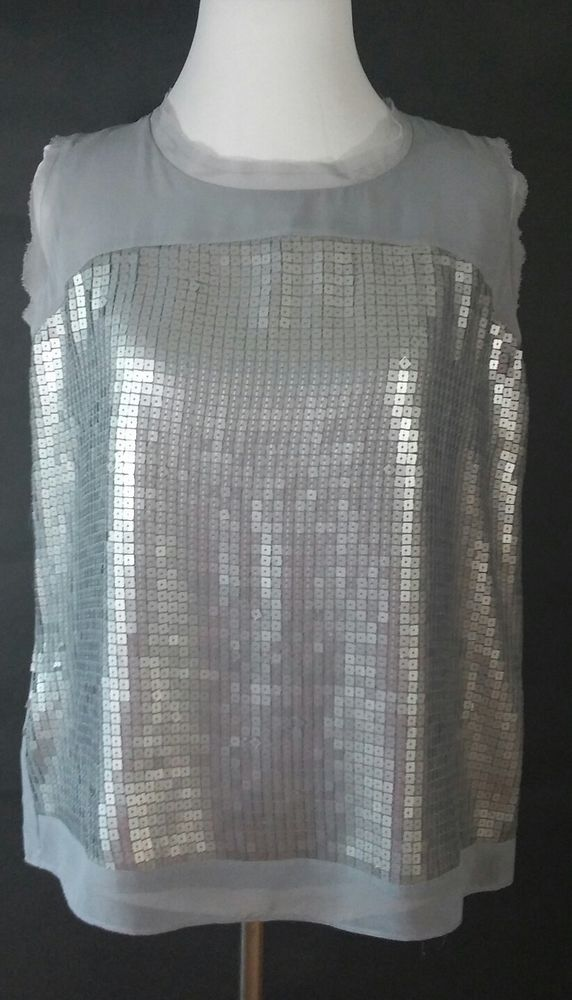 Ann Taylor Loft Sequin Front Taupe Blouse Med. Sleeveless Top Tank  Sexy F/S #AnnTaylorLOFT #Blouse