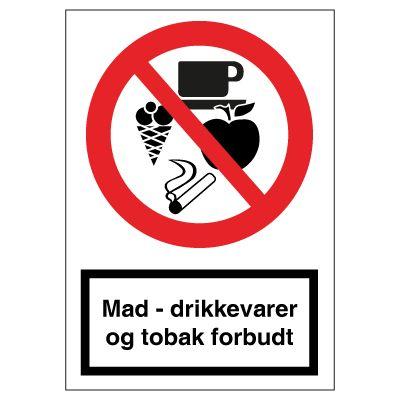 Mad, drikkevare & tobak forbudt - Køb forbudsskilte her
