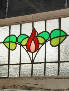 Victorian Floral Leaf Antique Stained Glass Transom