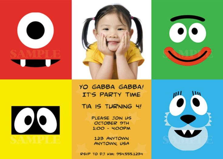 the 25 best images about yo gabba gabba birthday ideas on, Wedding invitations