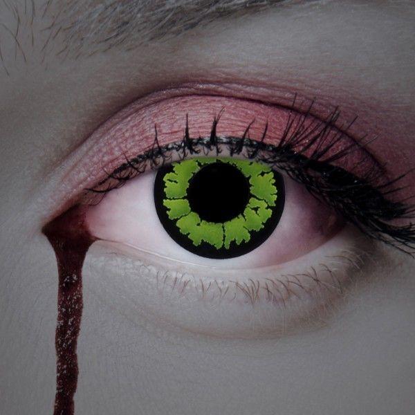Kontaktlinsen grün mit schwarzem Rand, grüne Farblinsen, Fun Linsen