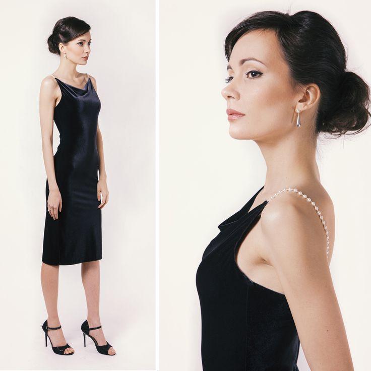 Velvet dress with bead straps  #swarovski #velvet #blackdress #style #elegant