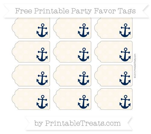 Free Antique White Dotted Pattern Nautical Party Favor Tags